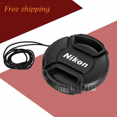 52mm Snap-on Lens Cap Hood Cover with Cord Filter for Nikon Camera Photography