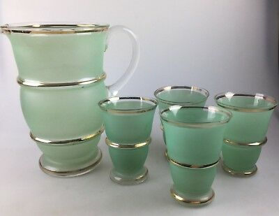 Vintage - Art Deco - Water Jug & 4 Glasses - Green With Gold Trim - Stunning