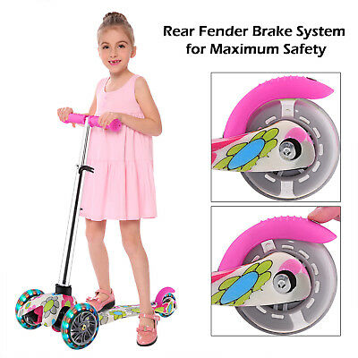 Kids Scooter Deluxe for Age 3-12 Adjustable Kick Scooters Girls Boys 3LED Wheels