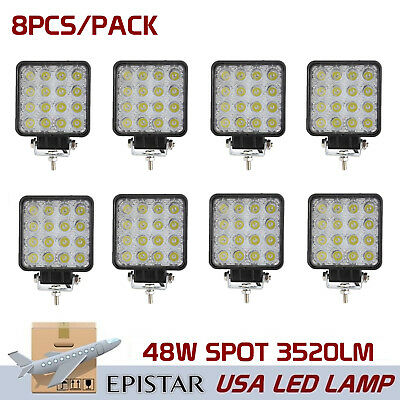 8X 48W LED Offroad Work Light Spot Driving Lamp JEEP SUV 4WD BOAT 4X4 Epistar