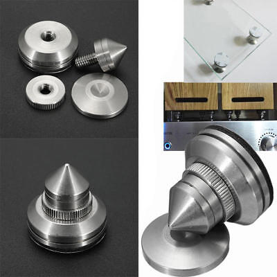 4pcs Stainless Steel Speaker Spikes+Pad Base Amplifier Isolation Stand Cone Feet