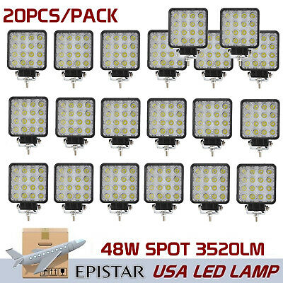 20X 48W Square LED Work Light Spot Driving Offroad Truck ATV Boat 4X4 SUV Ford