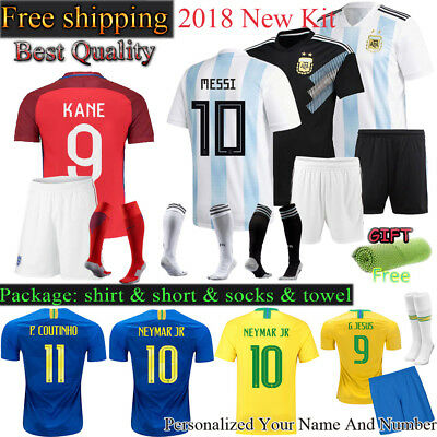 2018 Kids Soccer world cup Football Club Short Sleeve Jersey kits Boys + Socks