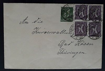 SCARCE 1922 Germany Cover ties 5 stamps cancelled Berlin to Bad Kösen