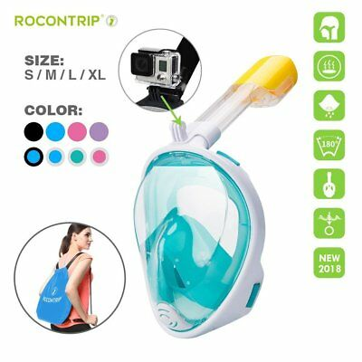 CA Swimming Diving Breath Full Face Mask Surface Snorkel Scuba for GoPro Kids
