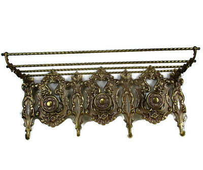 Italian Vintage Brass Brevett Ornate Coat Kitchen hat Rack Hollywood regency HTF