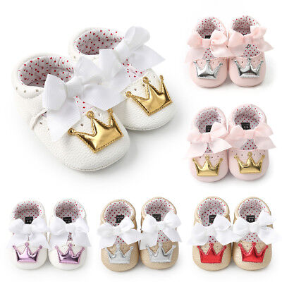 2018 Newborn Infant Baby Girls Crown Princess Shoes Soft Sole Anti-slip Sneakers