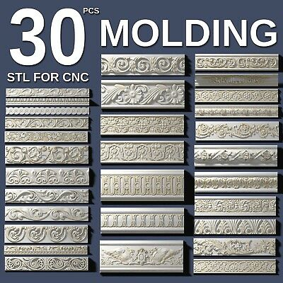 3d stl model cnc router artcam aspire 30 pcs molding collection