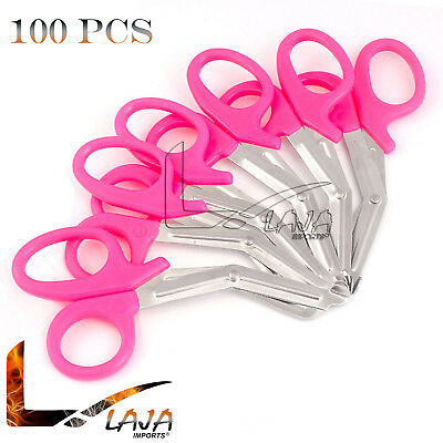 """100 PINK EMT Shears ( Scissors ) Bandage Paramedic EMS Rescue Supplies 7.25"""" New"""