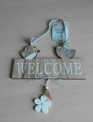 Rustic Hanging Wood Welcome Bird Feather Flower Garden House Mini Plaque Sign