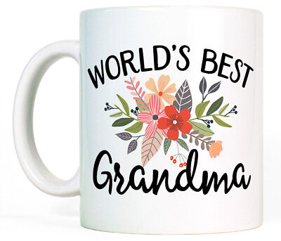 Worlds Best Grandma Coffee Mug Cup Birthday Gift For Grandmother Cute Floral