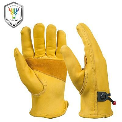 OZERO New Men's Work Driver Gloves Cowhide Leather Security Protection Wear S...