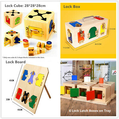 Kid Montessori Educational Practical Material Wooden Toy Lock Latch Box / Board