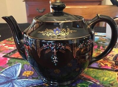 Black Japanese Teapot With Intricate Gold Designs