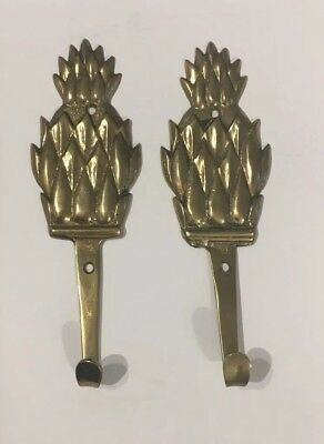 Lot Of Two - 2 - Vintage Brass Pineapple Wall Coat Hat Robe Hooks - 5 3/4 inches