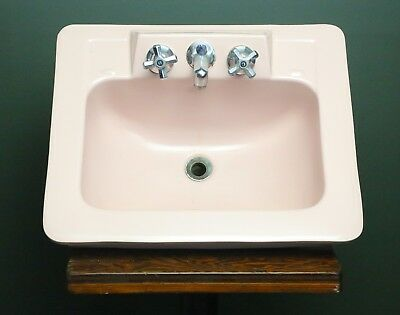 Vintage 1950s Pink Porcelain Bathroom Sink Original Chrome Fixtures Mid Century