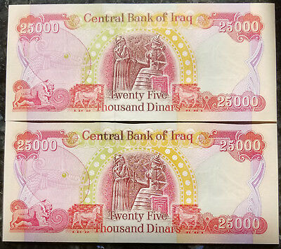 Lot Of (2) 25,000 Iraqi Dinar Note In Uncirculated Authentic No Reserve