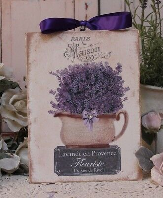 """Shabby Chic Vintage Country Cottage style Wall Decor Sign """"Lavande en Provence"""""""