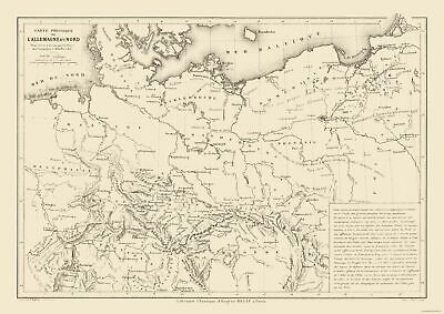 Physical Map North Germany - Drioux 1882 - 32.48 x 23