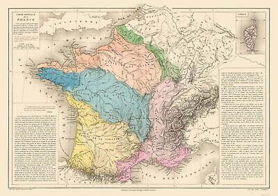 Physical Map France - Drioux 1882 - 32.55 x 23