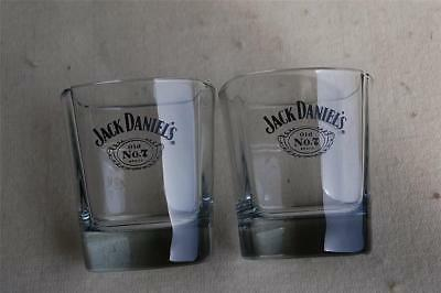 Jack Daniels 2 Square Base Whiskey Rocks Glasses Crest Logo Whisky Old No7 Brand