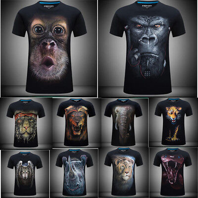Pouting Monkey/Orangutan/Wolf Summer Mens/Womens Funny 3D Print Casual T-Shirts