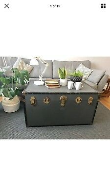 Grey Large Vintage Trunk Coffee Table Industrial Waxed Chest
