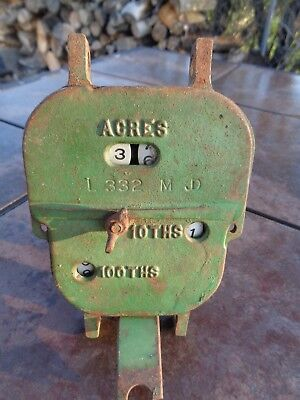 Vintage John Deere Tractor Co Cast Iron Steampunk Grain Drill Acre Counter Clock
