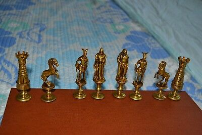 Vintage Pewter And Bronze or Brass Detailed Medieval Times Chess Set 32 Pieces