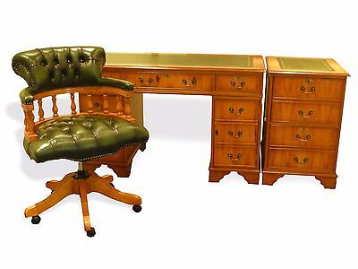 Regency Office Set! Leather Top Desk, 2 Drawer Filing Cabinet & Captains Chair!!