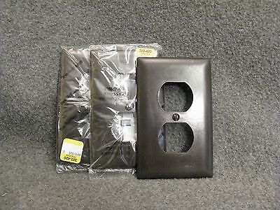Lot of 3 Vintage Dark Brown Plastic 2 Double Plug Outlet Plate Cover