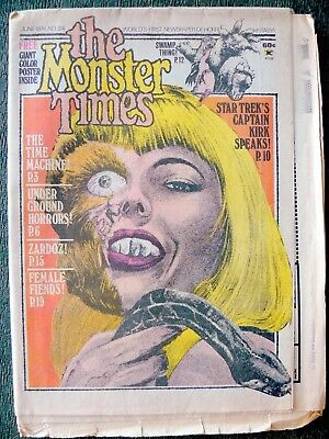 The Monster Times #34 June 1974 - Star Trek's Captain Kirk Speaks - Zardoz