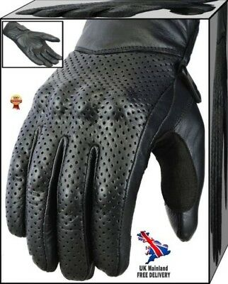 Leather Motorbike Motorcycle Gloves Knuckle Shell Protection Vented Summer