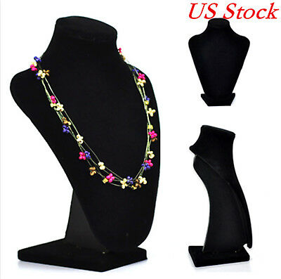 USA Velvet Bust Necklace Jewelry Mannequin Necklace Pendant Stand Holder
