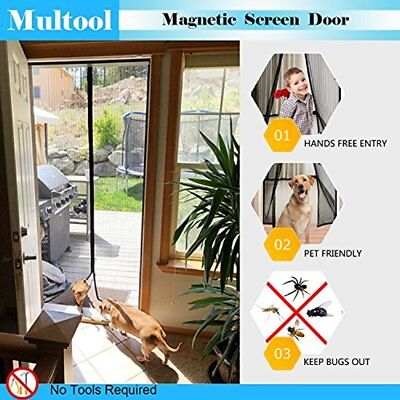 34 X 82 Inch Reinforced Magnetic Screen Door Heavy Duty Mesh Curtain Fits Size
