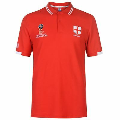 Genuine FIFA World Cup Russia 2018 England Men's Red Polo (Embroidered Logo)