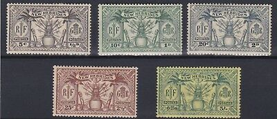 New Hebrides 1925  S G 43 - 51     Various Values To 5/-       Mh