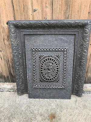 Ornate Early 1900's Fireplace Cast Iron Surround, Angel & Trumpet