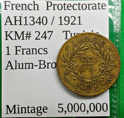 World Foreign Old Tunisia AH1340-1921 Coin 1 Franc KM# 247 French Protectorate