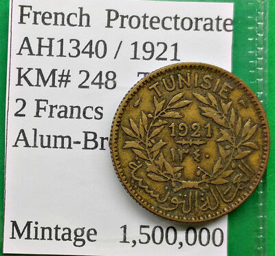 World Foreign Old Tunisia AH1340-1921 Coin 2 Franc KM# 248 French Protectorate