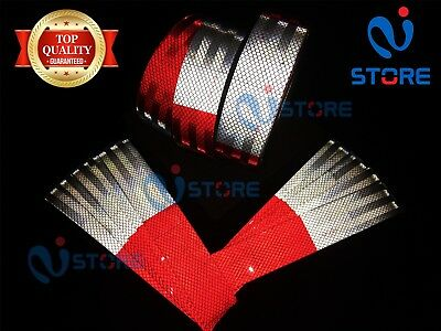 "DOT-C2 Conspicuity Reflective Tape | 6"" Red & 6"" White Safety Warning Trailer RV"
