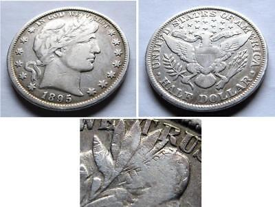 1895 P  Barber Half Dollar Very Good To Fine (Vg-F)     Free Shipping