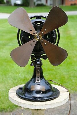 """Vintage Menominee Michigan Brass Blade Oscillating Electric Fan 12"""" for Parts"""