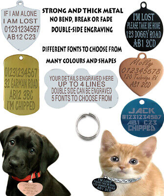 Double Side Engraved Round Id Name Disc Personalised Pet Dog Cat Tag Tags