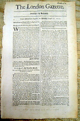 1702 London newspaper w PROCLAMATION Start of QUEEN ANNE'S WAR Colonial America