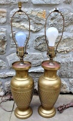 """Vintage Pair of Heavy Brass Decorator Table Lamps with """"Scale"""" Finish ~ 26"""""""