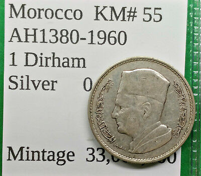 World Foreign Old Morocco Silver 1 Dirham 1960 Coin AH1380 KM#55 !!