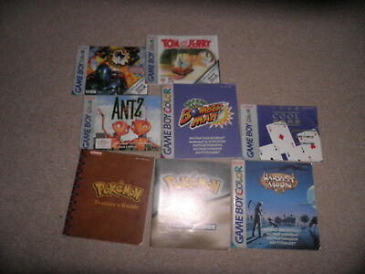 nintendo gameboy colour 8 instructions lot -  harvest moon pokemon bomberman