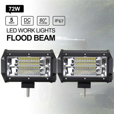 PACK 2 Focos Proyector LED conectables a 12V o 24V DC - 72W  IP68 Blanco Frio
