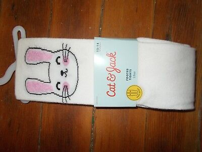 Cat & Jack Girl's Size 12 - 14 (73-  95 lbs) White Bunny Footed Tights NEW